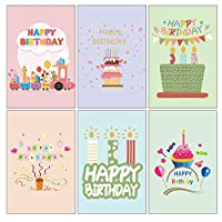 Birthday Cards Multipack, Vintoney 48 Pack Happy Birthday Greeting Cards with Blank White Envelopes Set, 6 Handwritten Modern Style, Colourful Designs - Blank on The Inside 9.8 x 15 cm