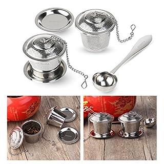 OUNONA Boule à thé Infuseur à thé Tea Infuser Acier Inoxydable ( 2 unités ) avec Tea Scoop et Cuvettes