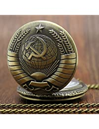 ShopyStore Small Necklace New Soviet Sickle Hammer Style Quartz Pocket Watch Men Women Vintage Bro