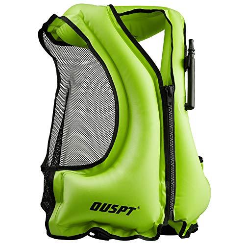 OUSPT Unisex Adulto Portable Gilet Gonfiabile boccaglio per Immersioni in Tutta Sicurezza (Verde)