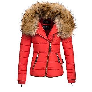 Navahoo AZU Damen Winter Jacke Parka Steppjacke großer Kunst-Fellkragen XS-XL, Größe:M;Farbe:Rot