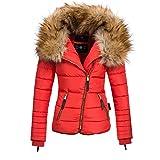 Navahoo AZU Damen Winter Jacke Parka Steppjacke großer Kunst-Fellkragen XS-XL, Größe:S;Farbe:Rot