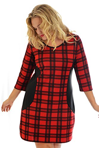 Nouvelle Collection Tartan Bodycon Dress Red 22-24