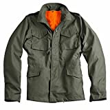 Alpha Industries M-65 Heritage Jacke 50% Baumwolle 50% Nylon Nyco Satin original robust herausnehmbare Futterjacke Parka neu, Größe:L, Farbe:olive