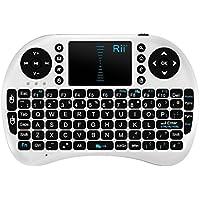 Rii 2.4G Mini Wireless Keyboard with Touchpad Mouse , KODI XMBC Rechargable Keyboard , Multi-media Portable Handheld Android Keyboard for PC Laptop Raspberry PI MacOS Linux HTPC IPTV Google Smart TV Android Box XBMC Windows 2000 XP Vista 7 8 10 (K08 UK White)