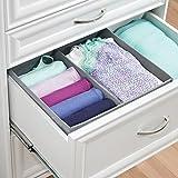 mDesign Stoffbox für Schrank oder Schublade, 2 Fächer – die ideale Aufbewahrungsbox (Stoff) – flexibel verwendbare Stoffkiste – Farbe: grau - 2