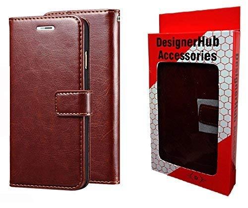 Designer Hub Yu Yuphoria YU5010 Flip Flap Cover Case with Stand/Wallet/Card Holder -Brown
