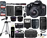 The Imaging World Canon EOS Rebel T6 18MP Wi-Fi DSLR Camera with 18-55mm IS II Lens + EF 75-300mm III Lens + SanDisk 32GB & 16GB Card + Wide Angle Lens + Telephoto Lens + Flash + Grip + Tripod - 48GB Accessories Bundle