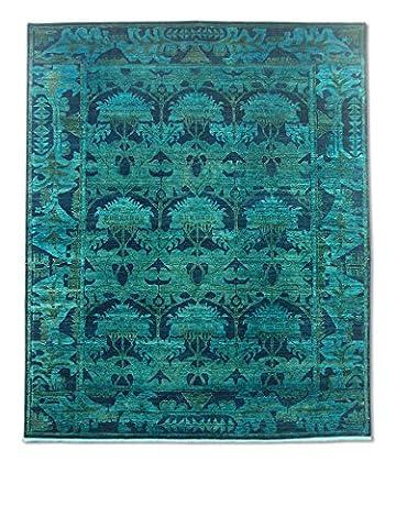 Chobi Handmade Over-Dyed Rug, Wool, Light Green, 244 X 291 cm, 8' 1