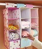 Tipo de cajón Bolsa de almacenamiento Chickwin Dossier suspendido Caja de almacenamiento Bolsa de almacenamiento de varios pisos Bolsa de almacenamiento plegable Bolsa de almacenamiento multiusos, bolsas de ropa Bolsa de almacenamiento de guardarropa (rosa)