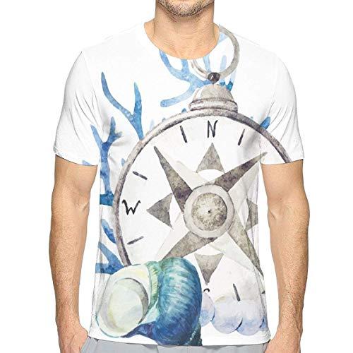 3D gedruckte T-Shirts, Aquarell-Meeresflora und -Fauna-Thema-Muschel-Kompass, der vibrierenden Farbdruck Reist - Fauna Muscheln