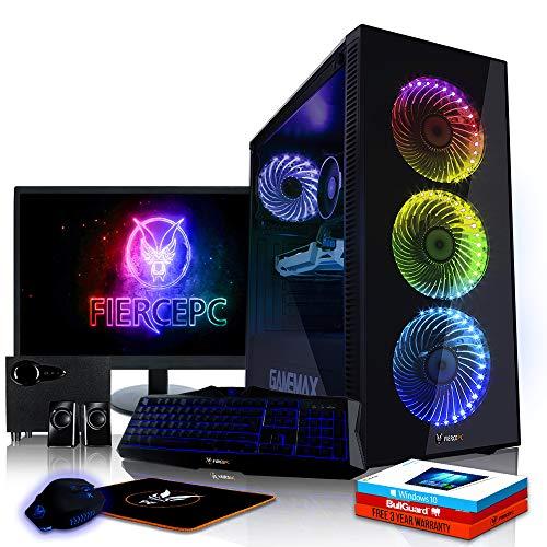 Fierce Sniper RGB Gaming PC Bundeln - 4.6GHz Hex-Core Intel Core i7 8700, 240GB SSD, 1TB HDD, 8GB, NVIDIA GeForce GTX 1050 Ti 4GB, Win 10, Tastatur (QWERTY), Maus, 24-Zoll-Monitor, Lautsprecher 941395