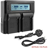 JUSTDO® Dual-Channel LCD Display Battery Charger For Sony NP-F Series NP-FM50 NP-FM55H NP-FM500H NP-QM71 NP-QM91 NP-QM51D NP-QM71D NP-QM91D NP-F550 NP-F750 NP-F970 NP-F990 Camcorder Batteries