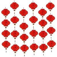 Aniparty - 25 farolillos Rojos Chinos de Año Nuevo con Personaje de Fu, para decoración de Festivales Chinos de Primavera, 25,4 cm