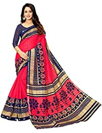 Glory Sarees Cotton Saree with Blouse Piece (gloryart005_Red and Blue_Free Size)