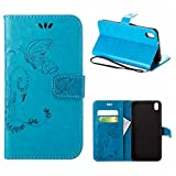 MOONCASE HTC Desire 816 Hülle, Schmetterling Tasche Pu