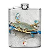 FGRYGF Pocket Container for Drinking Liquor, Crab with Blue Pliers Petaca for Liquor Stainless Steel Bottle Alcohol 7oz