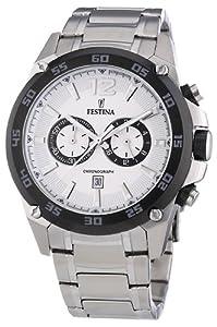 Festina Sport F16680/1 - Reloj cronógrafo de cuarzo para hombre, correa de acero inoxidable color plateado (cronómetro) de Festina
