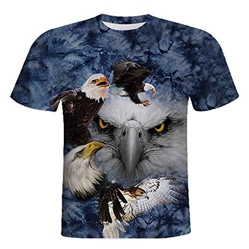 RXBC2011 Herren T-Shirt American Flag Adler und Katze Bedruckt XS-5XL. - Blau - XXX-Large (US - X-Large)