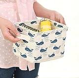 Ciaoed Kleine Baby Leinen Speicher Organizer Sets (Beige, Grau, Pink, Blau) Stoff Aufbewahrungsbox Organizer mit 2 Griffen auf beiden Seiten 20.5x17x15cm -Sets von 4 - 6