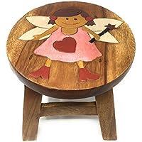 Preisvergleich für Agas Own Kinderhocker Holz Schemel Kinderstuhl Massivholz Bemalt und beschnitzt Höhe 25 cm (Prinzessin 1)