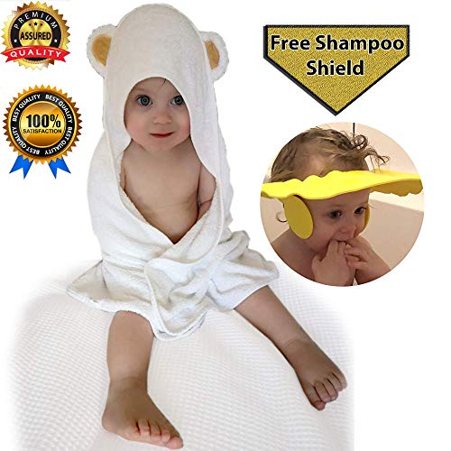 Hooded Baby Bath Towel Set, Super Soft Bamboo for Babies, Toddlers, Newborns, Boy/Girl Pool Beach Free Child Shower Shield