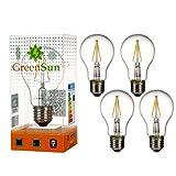 4×GreenSun LED 2W Kerze Glühfaden Kerzenlampe Filament Lampe 2700K Warmweiß E27 Fassung 360°Abstrahlwinkel Non-dimmable 220V