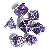 TUANMEIFADONGJI Jeu de dés 7pcs métal créatif D & D, 7 dés polyédriques en Alliage de Zinc en métal, Jeu de dés du Jeu de rôle du MDN, pour l'enseignement des mathématiques des donjons et Dragons