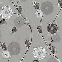 De trabajo Floral, papel pintado de calidad, buen acabado texturizado (beige), Beige
