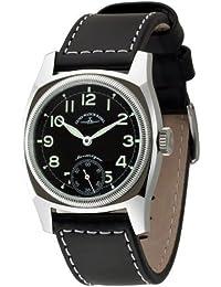 Zeno Watch Basel 6164-6-a1 - Reloj analógico manual para hombre con correa de piel, color negro