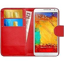 GizzmoHeaven Samsung Galaxy Note 3 Caja del teléfono de la imitación de cuero tirón de la carpeta Case Cover para Samsung Galaxy Note 3 (N9000) con protector de pantalla y el lápiz óptico en miniatura - Rojo