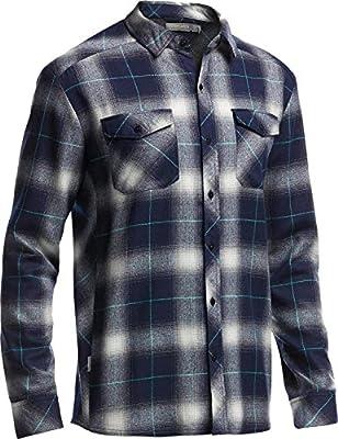 Icebreaker langarmshirt aus Flanell Lodge Erste Schichten für Herren-Redwood/Stealth/schwarz