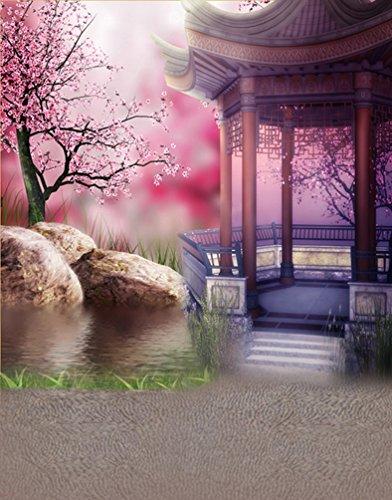 5x7ft Rosa Blumen-Baum Chinesischer traditioneller Pavillion-Fotografie-Hintergrund Computer-gedruckte Vinylhintergründe