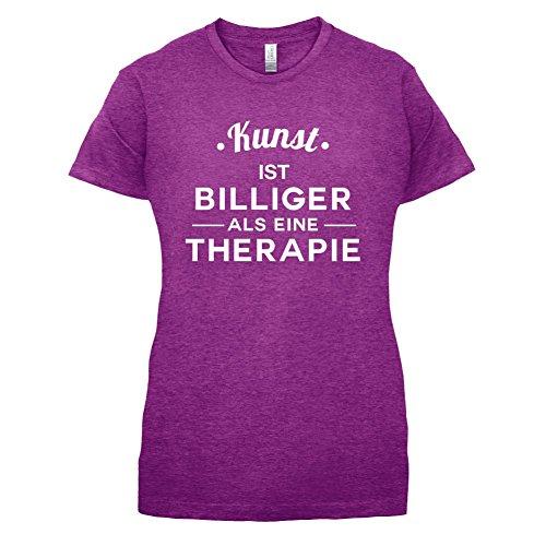 Kunst ist billiger als eine Therapie - Damen T-Shirt - 14 Farben Beere