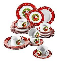 Idea Regalo - VEWEET, Serie SANTACLAUS, servizio da tavola in porcellana,30 pezzi, , 6 tazzine 6 piattini, 6 piatti da dessert, 6 piatti piatti e 6 piatti da zuppa, stoviglie di Natale per 6 persone