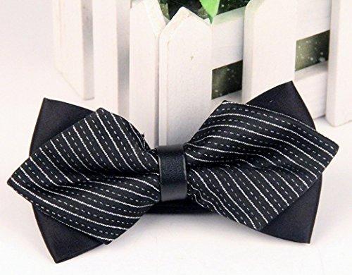 Panegy - Nœud papillon rayé - Lavallière avec double couche - Homme Soirée Businesse Mariage Cérémonie Déco Fête Costume Necktie 6*12cm Noir rayé