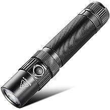 Linterna Táctica LED, Zanflare F1 USB recargable Linterna con 7 modos, IP68 impermeable, Cree XP-L V6 1240 Lumen Linterna con el martillo de la seguridad