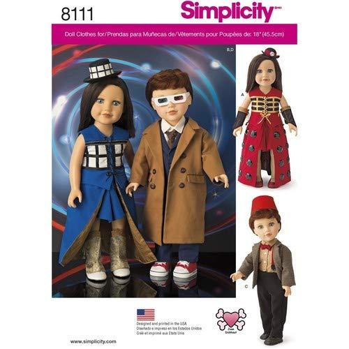 Simplicity Kostüme für 18Puppen Schnittmuster, Papier (Kostüm Für Papier Puppen)