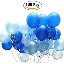 PuTwo Globos 12 pulgadas 100 Globos Blancos y Azules de los látex del PC para las Decoraciones del Partido
