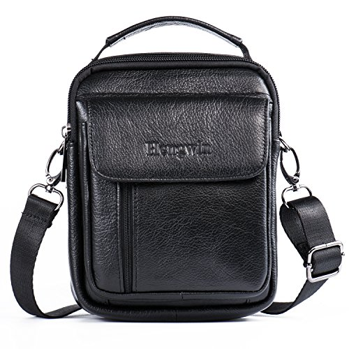 Leather Man Bag, Leather Man Bags Top-Handle Bag Holster Bag Waist Bag Small Messenger Bag Mobile Phone Holster with Handle/Shoulder Strap for Galaxy Note Series iPhone 7 Plus 6 Plus + Keyring (Black)