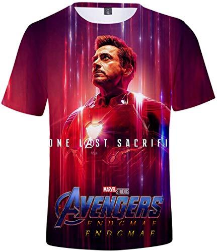 PANOZON Herren T-Shirts Avengers Endgame 3D Druckten Sommer Blusen Casual Shirts(Iron Man3387, M) -