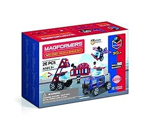 Magformers 717001 Amazing Police and Rescue Set Juguete de construcción magnético, Rojo, Azul, Negro, Gris
