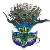 hou zhi liang Máscara de Maquillaje para graduación, Plumas de Pavo Real, máscara, máscara Veneciana para Mujer, Color Azul