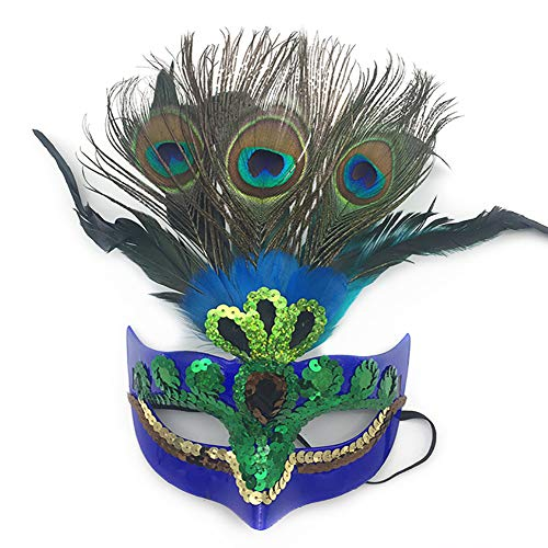 hou zhi liang Make-up-Maske, Pfauenfeder-Maske für Damen, Blau