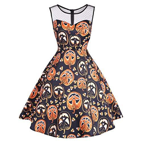 MIRRAY Damen Vintage O-Neck Print Ärmelloses Halloween Mid-Calf -