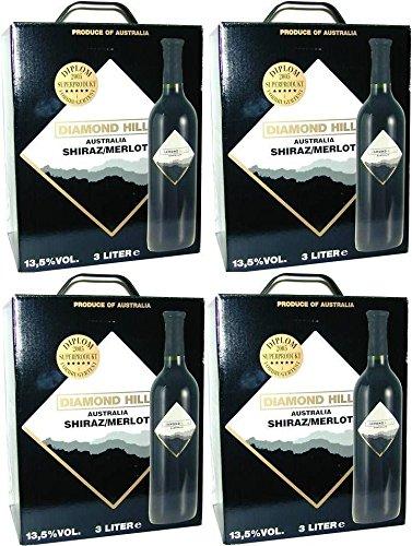 4-x-DIAMOND-HILL-SHIRAZ-MERLOT-Bag-in-Box-3-LITER-135-Incl-Goodie-von-Flensburger-Handel