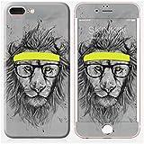 Sticker iPhone 7 Plus de chez Skinkin - Design original : Hipster lion par Soltib