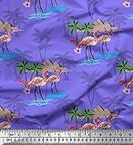Soimoi Lila Samt Stoff Palme, Flamingo Vogel gedruckt Craft