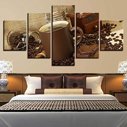 Ysain Wohnkultur Leinwand Hd Poster Arbeiten 5 Stücke Wandkunst Kaffee Und Schokolade Malerei Modulare Bilder Für Wohnzimmer-12X16/24/32 Inch-Ohne Rahmen - Schokoladen-rahmen