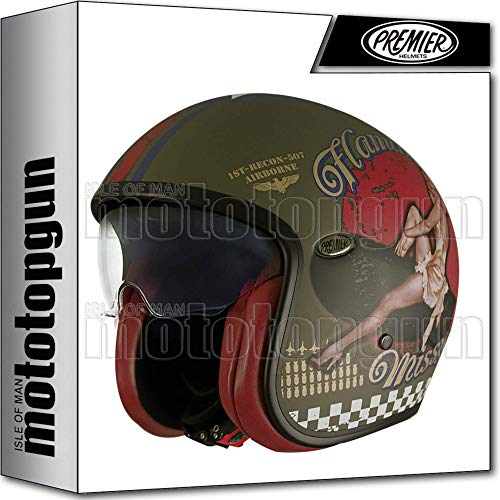 PREMIER CASCO MOTO JET VINTAGE EVO PIN UP MILITARY BM M